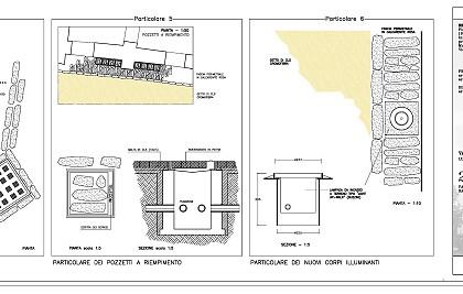Opere di urbanizzazione di via Le Rughe a Fossato di Vico, rifacimento di pavimentazione e consolidamento del sottostante tratto delle mura urbiche<br /> Committente: Comune di Fossato di Vico<br /> Prestazione: progettazione, direzione lavori