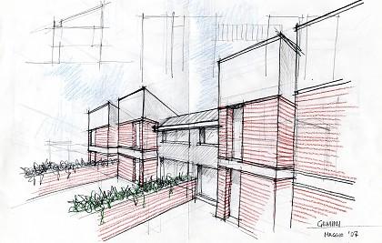 Realizzazione di n. 05 villette a schiera<br /> Comune di Giano dell'Umbria (PG) <br /> Committente: società di costruzioni<br /> Prestazione professionale: progettazione architettonica preliminare