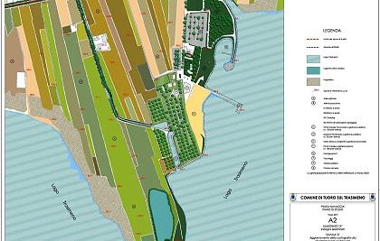 """Piano di studio dell'area denominata """"Punta Navaccia<br /> Committente: Comune di Tuoro sul Trasimeno (PG) <br /> Prestazione professionale: rilievi, variante al piano regolatore, piani attuativi"""