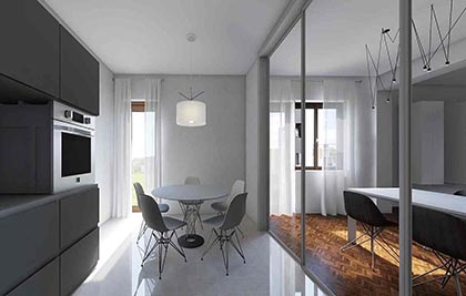Appartamento privato; rendering di progetto<br /> Comune di Macerata (MC) <br /> Committente: privato <br /> Prestazione professionale: progettazione architettonica